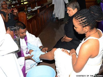 Jamaican Pastor Angers Congregation by Washing Feet of Lesbian, Trans Visitors