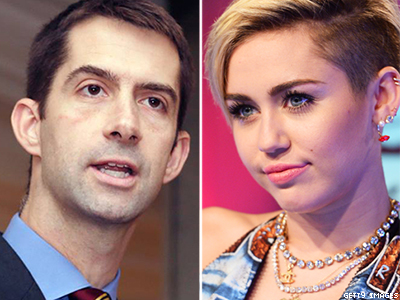 Miley Cyrus Wants Tom Cotton to Get His Priorities Straight