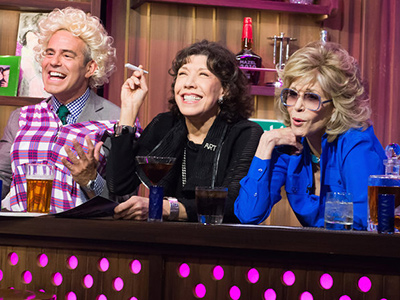 Andy Cohen Reenacts Classic9 to 5 Scene With Jane Fonda and Lily Tomlin