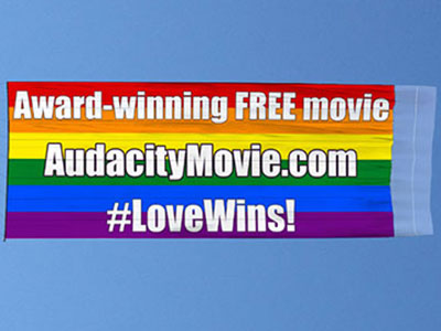 Look! Up in the Sky! It's a Rainbow Banner Promoting an Antigay Movie