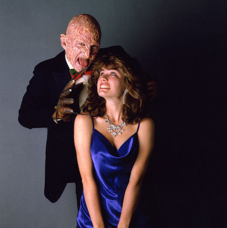 Robert Englund as Freddy Krueger and Heather Langenkamp as Nancy Thompson.