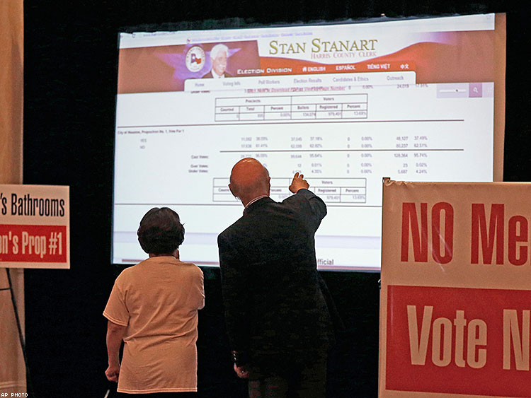 Campaign for Houston supporters check election results at a watch party