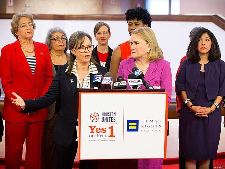 Actress Sally Field with Houston area women leaders speaks at a Human Rights Campaign press conference in Houston.