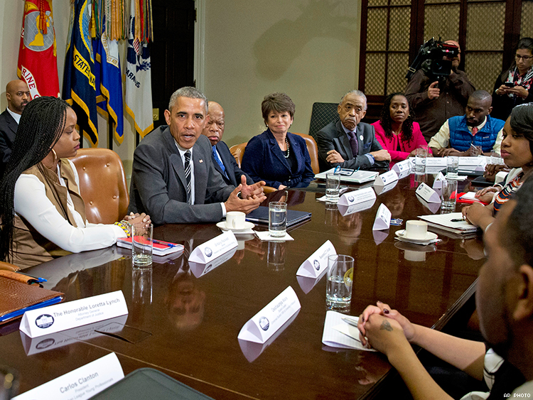 DeRay Mckesson and other black activists meet with President Obama