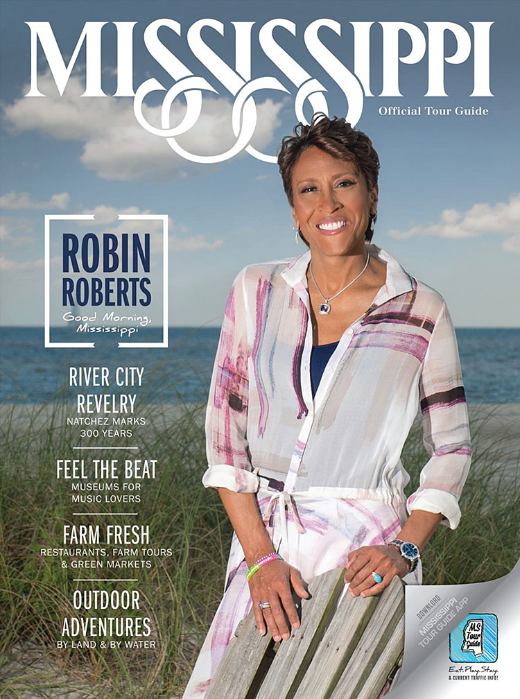 Lesbian anchor Robin Roberts covers the official tourism publication for the state of Mississippi