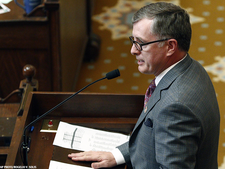 Mississippi Rep. Jay Hughes speaks in opposition to HB 1523 on the House floor April 4