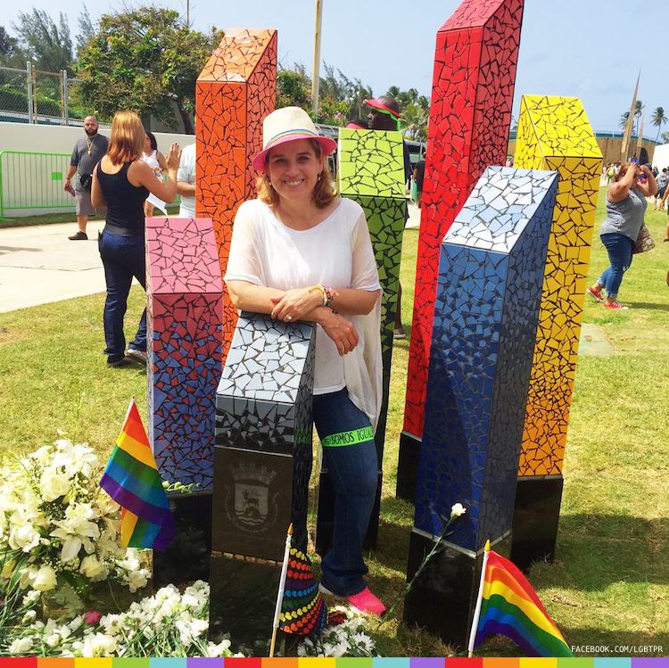 San Juan mayor Carmen Yulín poses in front of the first LGBT monument in Puerto Rico