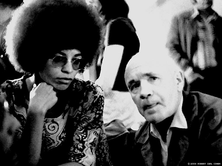 Angela Davis and Jean Genet at a party at the home of Dalton Trumbo