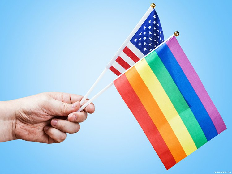 American and Pride Flags
