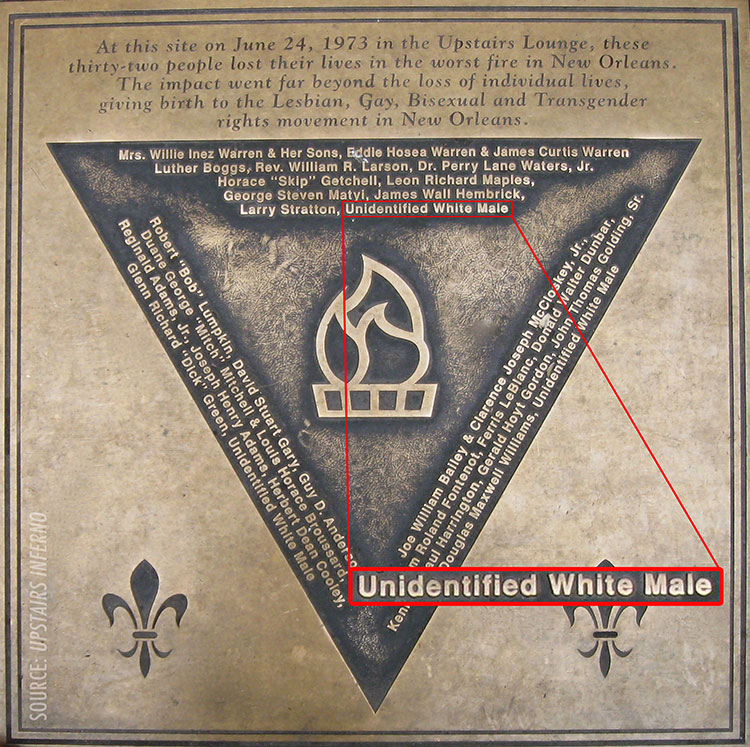 Up Stairs Lounge Memorial Plaque Unidentified White Male Inset
