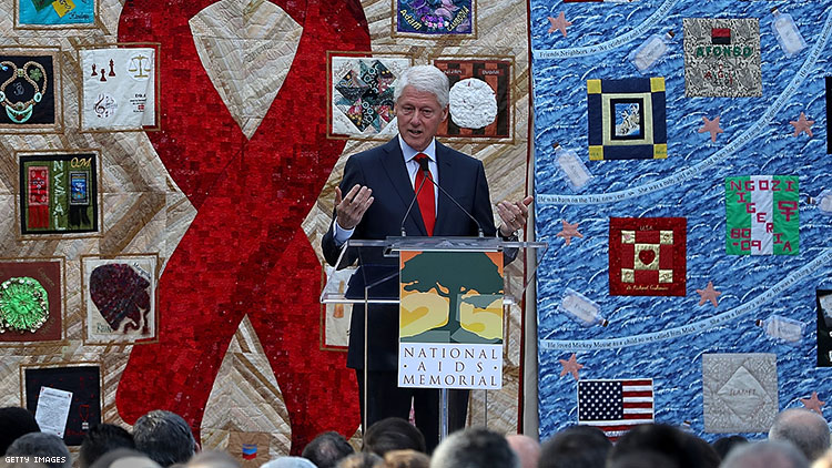 Former president Bill Clinton speaking at the World AIDS Day commemoration event at the National AIDS Memorial Grove in 2017.