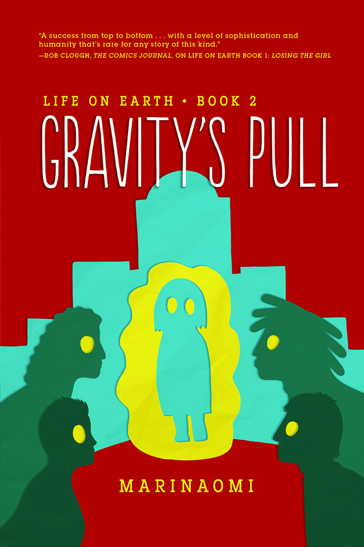 cover of Gravity's Pull featuring illustration of silhouettes of five people with big eyes