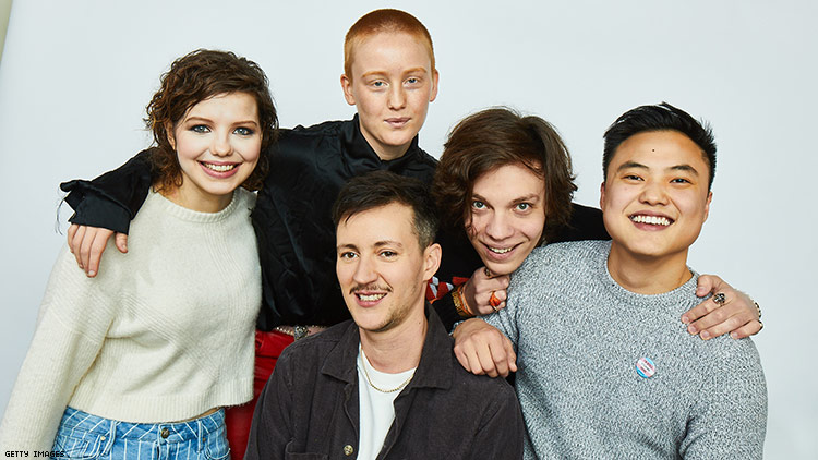 Rhys Ernst (middle) with Adam cast members