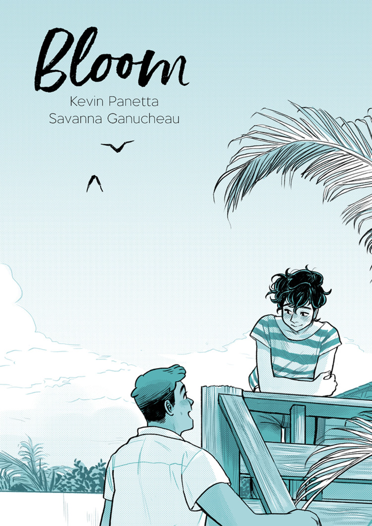 Cover of Bloom graphic novel featuring two young men on a beach