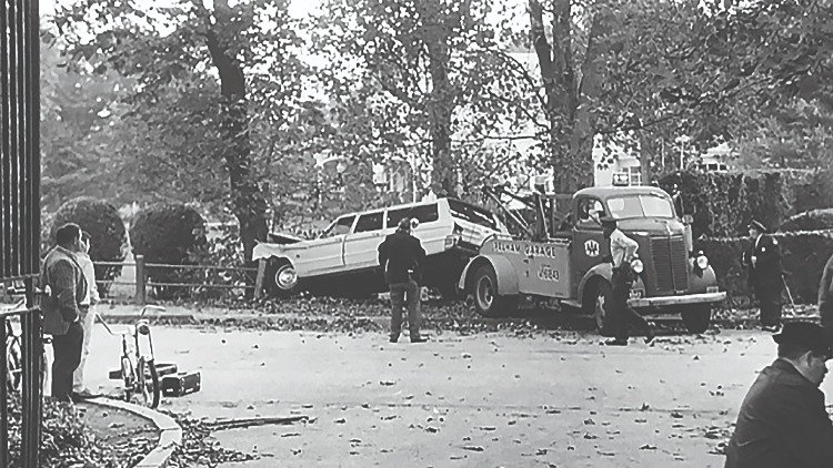 The scene of the crime. Doris Duke killed interior designer Eduardo Tirella, ramming him with her car and driving through an iron gate and crushing him when she ran into a tree.