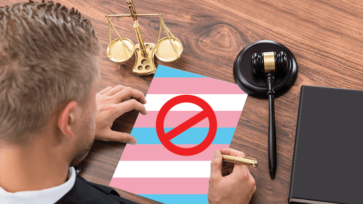 a judge with a paper colored like the transgender flag with a red circle with a line through it