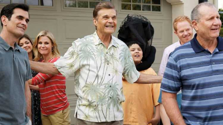 Fred Willard with his Modern Family