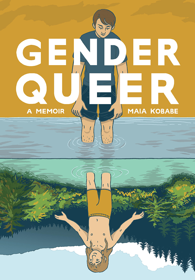 Cover of Gender Queer: A Memoir featuring a masculine girl looking at eir reflection who is a feminine boy