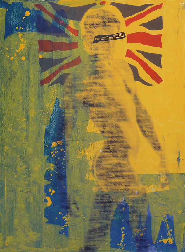 5 God Save The Queen   30x22 Silkscreen & Wood Stain On Paper By Taylor Smith