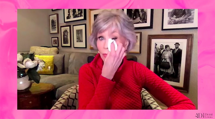 Jane Fonda gets emotional while guesting on 4D with Demi Lovato