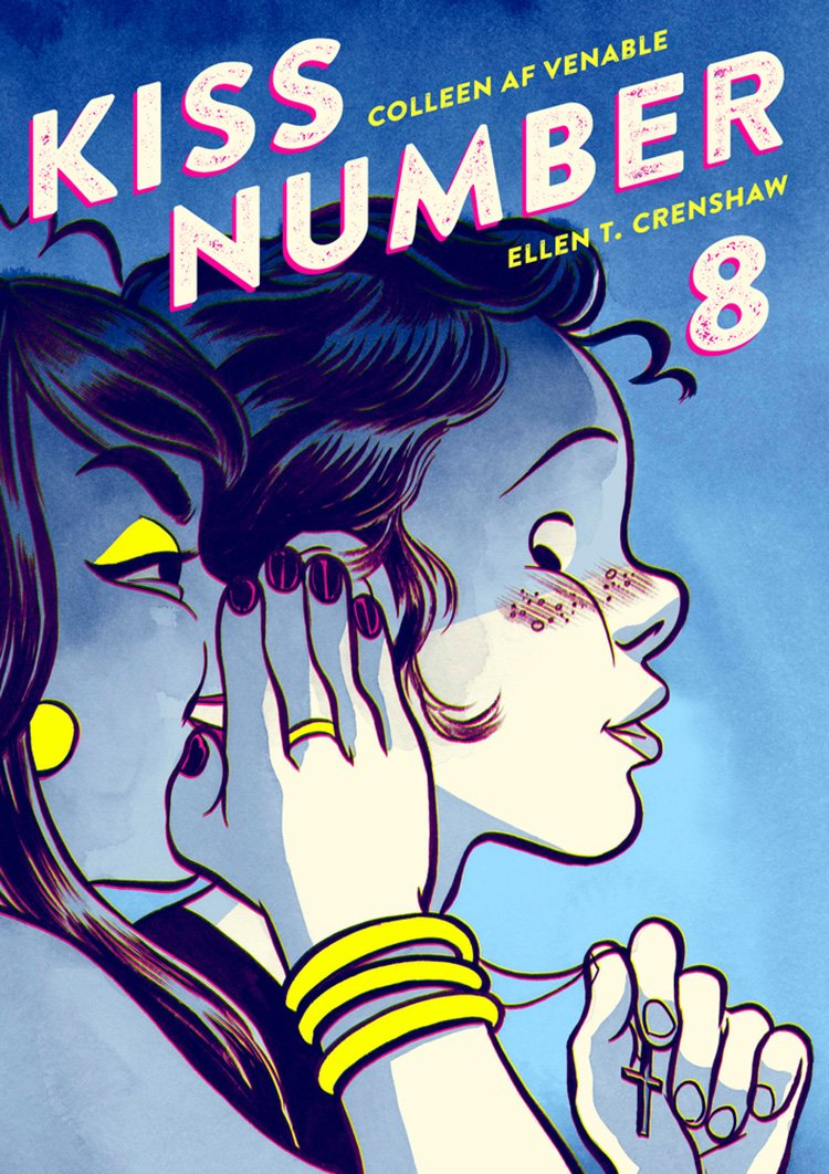 Cover of Kiss Number 8 featuring a girl whispering in another girl's ear
