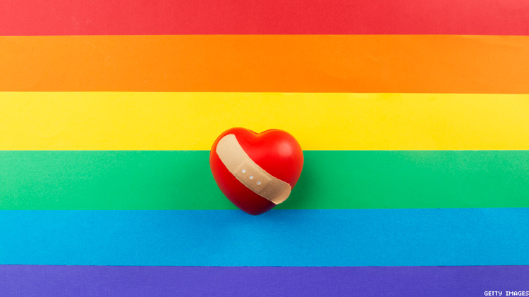 Rainbow flag with heart