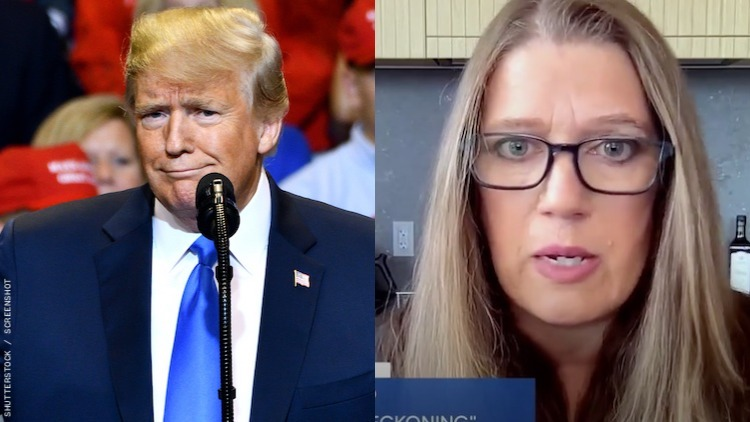 A diptych of Mary and Donald Trump