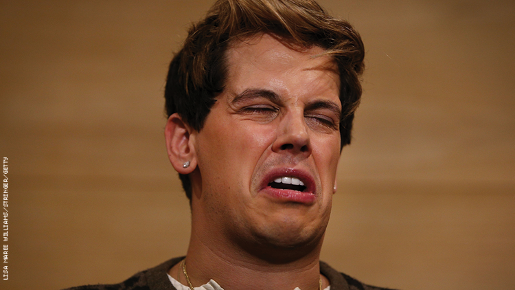 Milo Yiannopoulos crying like a baby