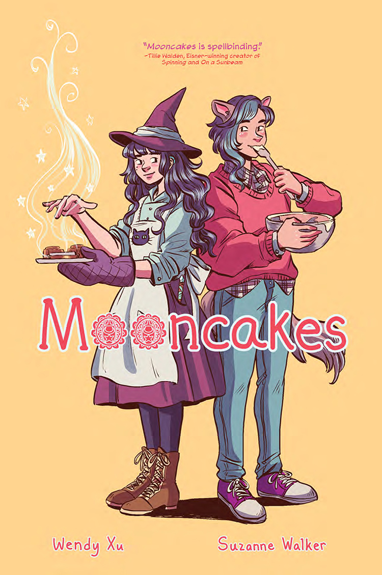 Cover of Mooncakes graphic novel featuring a girl witch and girl werewolf