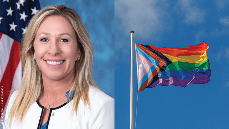 Marjorie Taylor Greene and Pride flag