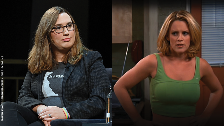 Sarah McBride and Jenny McCarthy on Just Shoot Me