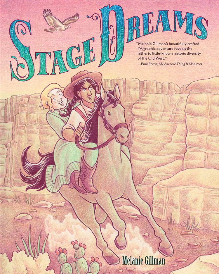 Cover of Stage Dreams featuring a Native American woman and white trans woman on a horse