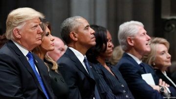 Hillary Refused to Turn Her Head, Acknowledge Trump at Bush Funeral