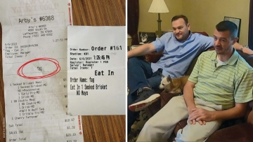 Image of receipt and couple who received it.