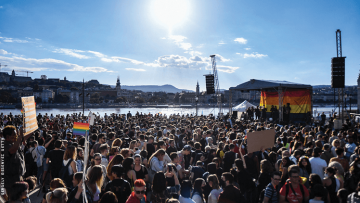 Thousands of people protested against Hungary's new law against LGBTQ+ people