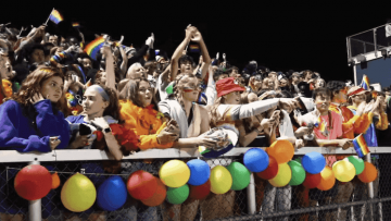 High school crowd at homecoming game in Vermont