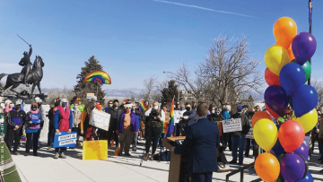 a protest in Montana