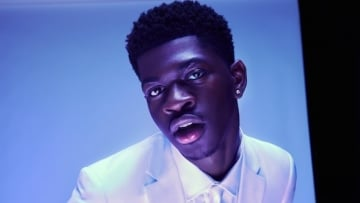 Lil Nas X in pink suit.