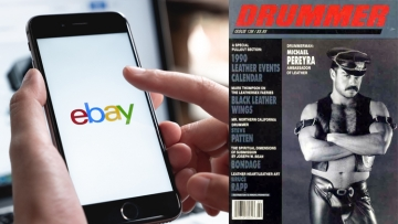 eBay logo on a cellphone screen and the cover of Drummer magazine