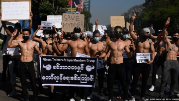 Myanmar fitness trainers and gym members protest coup