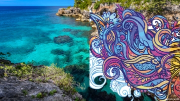Jamaica beach and Psychedelic art