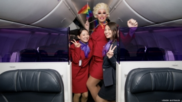 Virgin Australia Pride Flight with Penny Tration