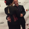 Willy Wilkinson celebrates on the red carpet with his date before winning the award for transgender nonfiction.