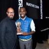 Journalist, Native Son Creator Emil Wilbekin (L) gives a Native Son award to honoree, Black Lives Matter Activist DeRay McKesson