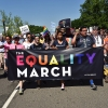Tens of thousands of people unhappy with current administration policies on gender, race, religion, and LGBT equality marched in Washington, D.C., Sunday.