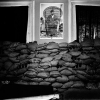 Sandbags line the walls of the New Haven Panther office
