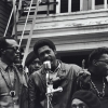 Bobby Seale speaks at a Free Huey rally in Defermery Park