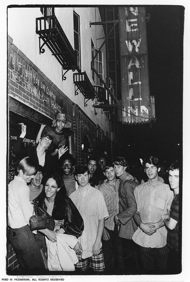 """The Stonewall riots started on Friday night, June 27, and ended Monday morning, with breaks in between for a victory celebration. The chalked message on the wall says, """"To fight for our country, they invaded our rights."""""""