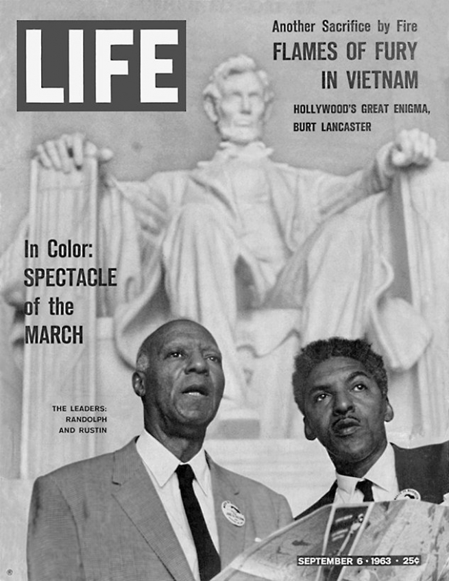 The triumphant Life magazine cover, crediting A. Philip Randolph and Rustin as the leaders of the March on Washington. Courtesy Bayard Rustin Estate.