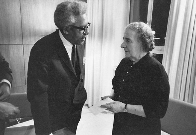 Meeting with Golda Meir, Prime Minister of Israel, 1976. Courtesy Bayard Rustin Estate.